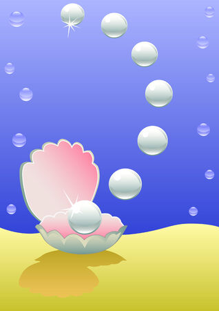 mother of pearl: Perle del mare su un fondo Vettoriali