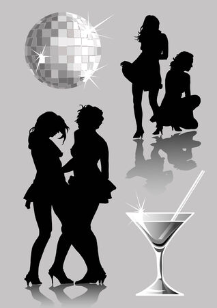 Silhouettes of two girls on a party Vector