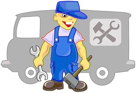 craftsperson: worker on car repairs in a uniform with the tool in hands
