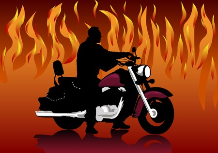 Silhouette of the motorcyclist on a background of fire Illustration