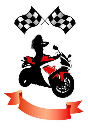 motorbikes: Vector drawing of sexy girl on modern speed Motorcycle
