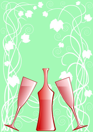 facer: vector figure of a bottle with a glass for wine on a shelf of bar