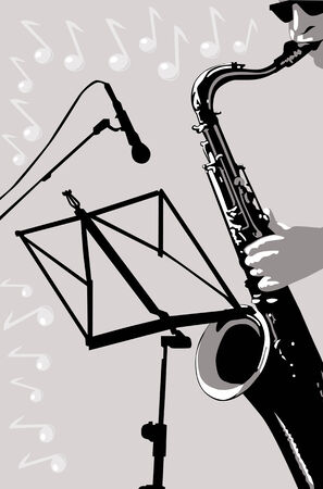 vectors musician with a saxophone on the background music flying marks Vector