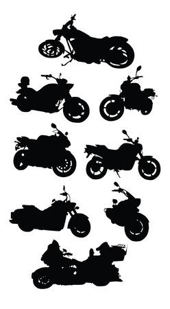 motorizado: de dibujo vectorial motocicletas de siluetas sobre un fondo blanco  Vectores