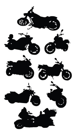 vector drawing silhouettes road motorcycles on a white background Vector