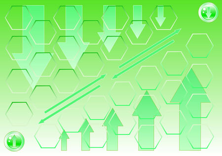 saturated color: vector drawing of green arrows on a green background down, and up