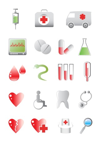 vector colored icons on the medical theme Vector