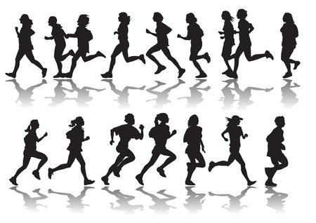 de dibujo vectorial corriendo una maratón de deportes de la mujer