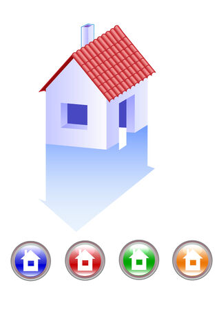 vector drawing computer icons small house with red roof Vector