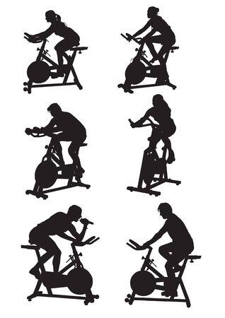 gym equipment: disegno vettoriale sagome di uomini e donne in bici