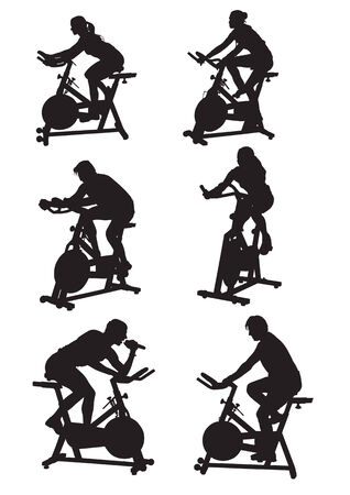 vector drawing silhouettes of men and women on bike Stock Vector - 3536863