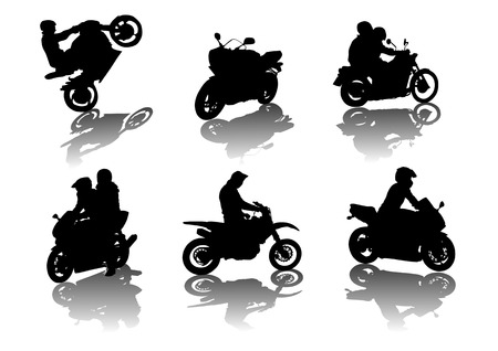 motorized: vector drawing silhouettes road motorcycles on a white background