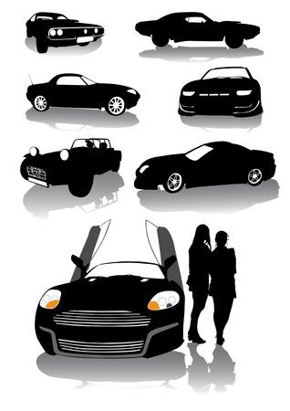 dibujo vectorial siluetas de los clásicos coches deportivos