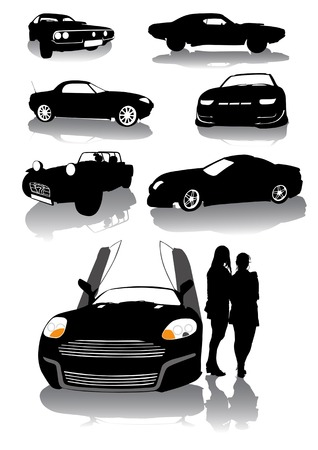 vector drawing silhouettes of classic sports cars Vector