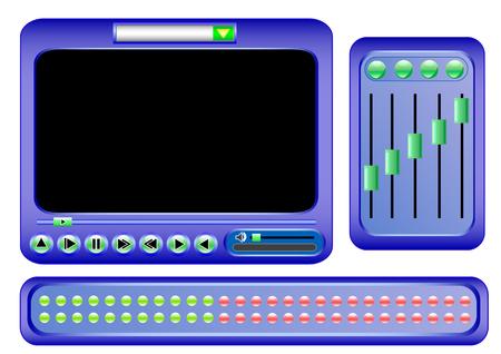 control panel: vettoriale interfaccia grafica del pannello di controllo lettore video