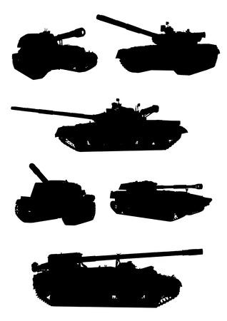 Vektor-Zeichnung von militärischer Ausrüstung, schwarze Silhouetten vor einem weißen Hintergrund