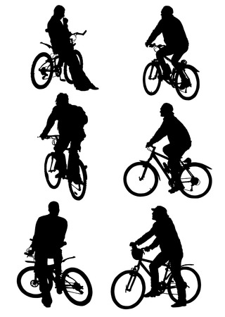 vector graphic silhouettes of people on bicycles on a white background Illustration