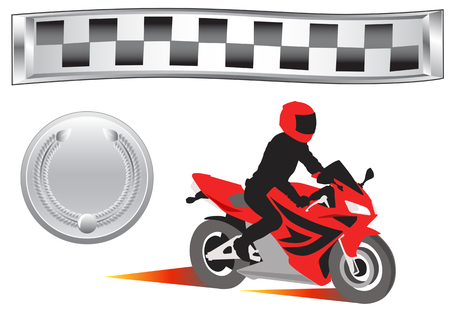 motorcycle racing: vector drawing sports medals and cross-speed motorcycle