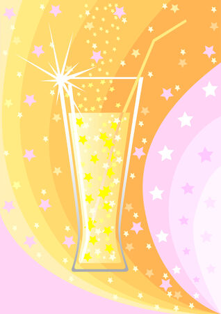 indulgence: vector drawing a glass of alcohol at the colorful festive background