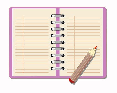 assignments: vector drawing notebook with a pencil to write