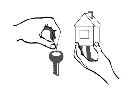 vectors hands with keys from the house, a symbol of real estate Stock Vector - 3650941