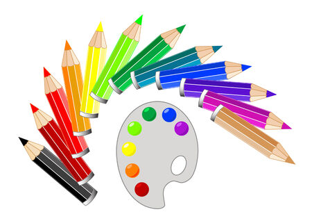 vector drawing colored pencils on a white background and color of paints Vector