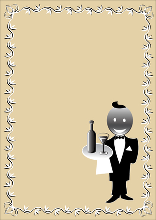 domed tray: vector drawing restaurant menu patterned and waiter