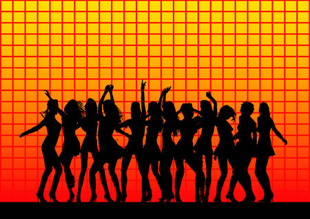 pulsating: vector drawing silhouettes dancers. Each figure is a separate object Illustration