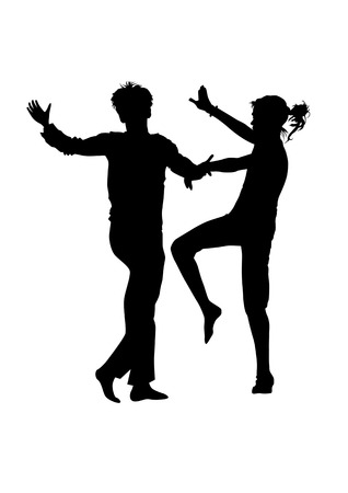 square dancing: vector drawing men and women dancing rock n roll on a white background Illustration