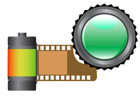 vector drawing cassettes for film and lenses for camera Stock Vector - 3706030