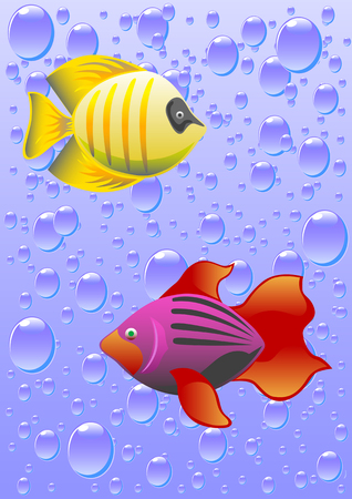 versions: vector drawing tropical fish against a backdrop of bubbles. The file is saved in eps format for illustrator 8 versions. items easily separated from the background for separate use.