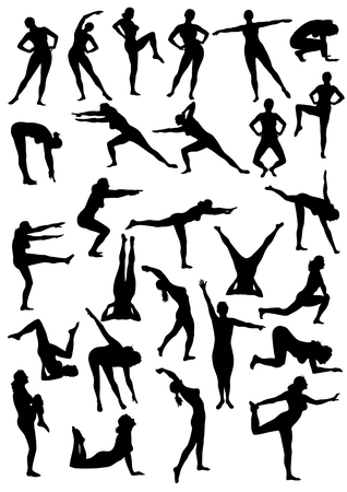exercises: vectors on the topic of physical exercise. silhouettes on a white background Illustration
