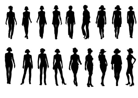 vector drawing silhouettes on a white background on the topic of fashion. file saved in Illustrator 8 format Vector