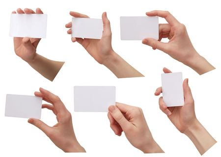 color images of womens hands with a credit card. isolated on a white background