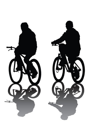 Vector image of cyclists. Silhouette on white background. Saved in the to Illustrator 8. Vector