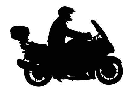 illustrator vector: Vector image of motocyclists. Silhouette on white background. Saved in the to Illustrator 8.