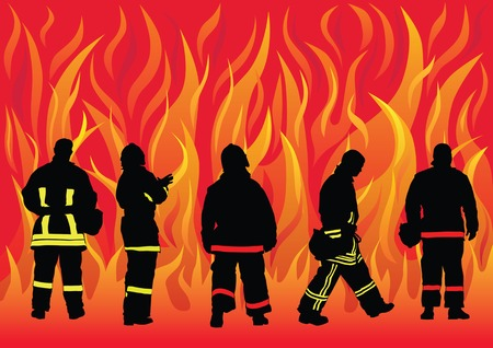 brigade: Vector drawing of fire brigade to a fire. Saved in format for illustrator 8.