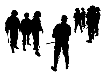 cruelty: Vector graphic group of special police forces. Isolated on a white background. Illustration