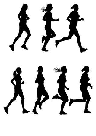 De dibujo vectorial de maratón femenino. Siluetas sobre un fondo blanco.