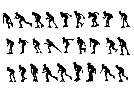 Vector figure skaters. Silhouettes on a white background.  Illustration