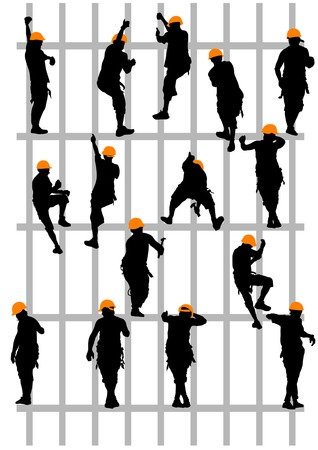 manual worker: Vector drawing steeplejack working on construction. Silhouettes on a white background Saved in the . Illustration