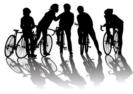 montando bicicleta: Vector de la imagen de los ciclistas. Guardado formato eps 8. Silueta sobre fondo blanco.