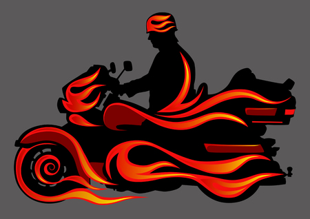 motorcyclist: Vector graphic motorcycle on fire. Saved in format for illustrator 8. Illustration