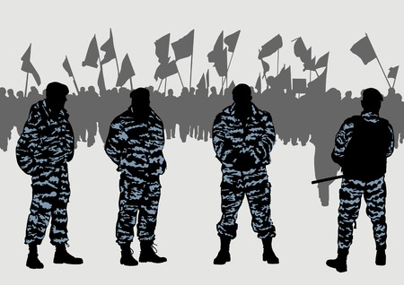 detention: Vector drawing of a police force and demonstrators.Saved in the .