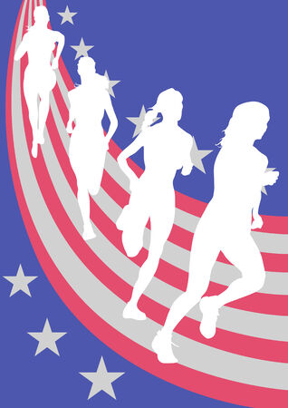 silouettes: Vector drawing athletes against the background of the American flag. Saved in the .
