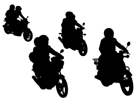 Vector drawing group motorcycle on the road. Silhouettes on a white background. Saved in the . Vector