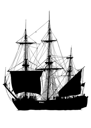 Vector drawing old sailing ship. Silhouette on white background. Saved in the .