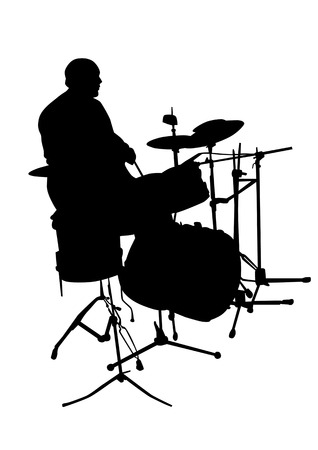 drum kit: Vector graphic drummer at a concert. Silhouette on white background. Saved in the . Illustration