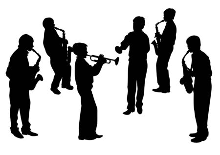 saved: Vector drawing musical group. Silhouettes on a white background. Saved in the .