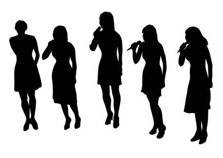 voices: Grupo musical de dibujo vectorial. Siluetas sobre un fondo blanco. Guardados en el eps.